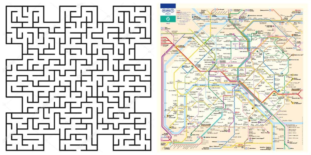 afbeelding met een doolhof en met een metrokaart