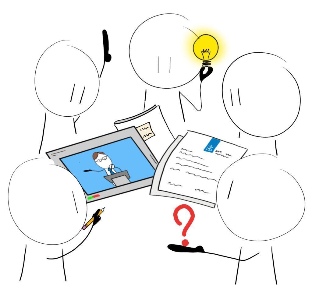 afbeelding met diverse mannetjes om tablet en papier